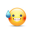 smiling face with open mouth and cold sweat vector image vector image