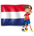 the flag netherlands with a soccer player vector image
