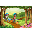 Two boys riding bicycle in the park vector image vector image