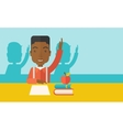 Young black student raising his hand vector image