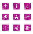young entertainment icons set grunge style vector image