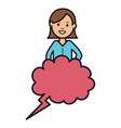 young woman with speech bubble avatar character vector image