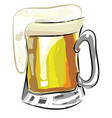 a beer mug with overflowing froth from it color vector image