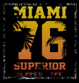 a cool surfing in miami miami surfing design vector image vector image