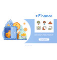 banner finance with linear icons set vector image