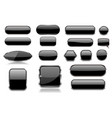 black glass buttons collection of 3d icons vector image vector image