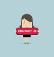 businesswoman with contact us button vector image vector image