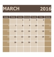 Calendar March 2016 week starts from Sunday vector image vector image