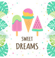 card with ice cream isolated on white background vector image vector image