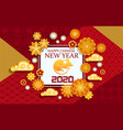 chinese new year zodiac rat with papercut flowers vector image vector image