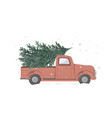 christmas retro truck with a tree vector image