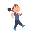 cute boy carrying shovel child working in garden vector image vector image