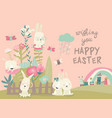 cute cartoon bunny with easter eggs and flowers vector image vector image