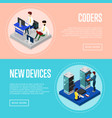 data centre upgrading service isometric posters vector image vector image