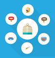 flat icon animal set of bird prison nutrition box vector image
