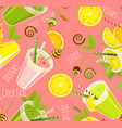 green cocktail seamless pattern vector image vector image