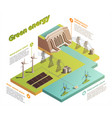 green energy isometric composition vector image vector image