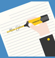 hand holding yellow highlighter vector image vector image