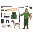 hunter man with hunting equipment or items vector image