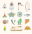 indian boho icons elements traditional vector image