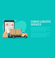 logistic cargo mobile courier online flyer poster vector image