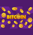 logo bitcoin and gold coins on violet background vector image vector image