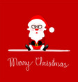 merry christmas greeting card with santa claus vector image vector image