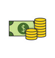 money flat line icon vector image vector image