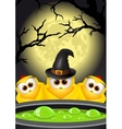 Postcard Halloween Witches brews a magic potion vector image