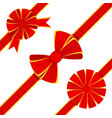 red bow icons set vector image vector image