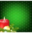 Red Christmas Candle With Fur Tree vector image