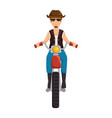 rough motorcyclist with hat avatar character vector image