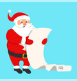 santa claus reading a long wish list vector image vector image