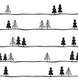 Seamless pattern with black and white fir-trees vector image