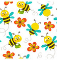 seamless pattern with funny bees vector image