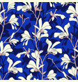 seamless pattern with magnolia tree blossom blue vector image vector image