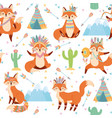 seamless tribal fox pattern cute foxes in indian vector image vector image