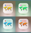 set of map icons for application on soft vector image