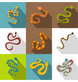 snake icons set flat style vector image vector image