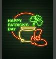 st patricks day neon sign and green brick wall vector image vector image