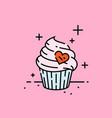 sweet heart cupcake icon vector image