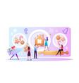 tiny characters baking huge christmas bakery vector image
