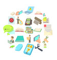 typography icons set cartoon style vector image vector image