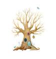 watercolor tree house vector image vector image