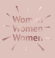women rose gold background with a metallic effect vector image vector image