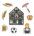 Bavarian culture and traditions icons vector image