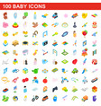 100 baby icons set isometric 3d style vector image vector image