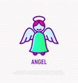 angel with nimbus thin line icon vector image vector image