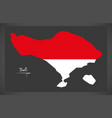 bali indonesia map with indonesian national flag vector image