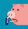 big piggy bank open mouth and eating coin vector image vector image